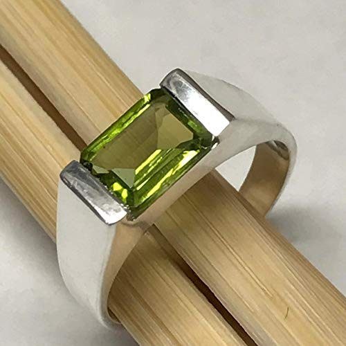 Genuine 2ct Apple Green Peridot Emerald Cut 925 Sterling Silver Solitaire Men's Ring sz 6.75, 7, 7.75, 8, 8.25, 9.75, 10, 10.25, 11, 11.75, 12, 12.25, 12.75, 13