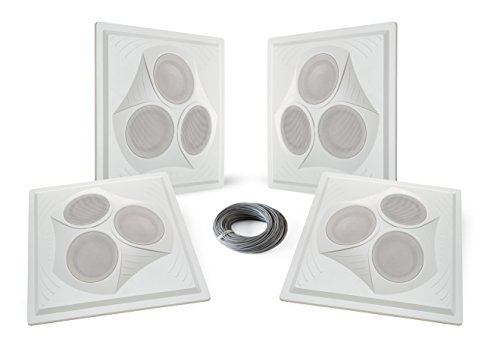 Pure Resonance Audio VCA8 - Vector Ceiling Speaker Array 120 Watts 8 Ohm (4 Speakers + Wire) by Pure Resonance Audio