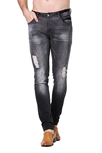 ZLZ Men's Ripped Skinny Distressed Destroyed Slim Fit Stretch Biker Jeans Pants with Holes (31, Grey)