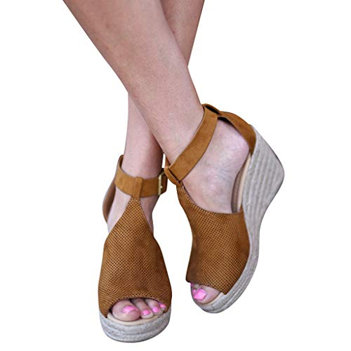 BEAUTYVAN Womens Summer Casual Espadrilles Peep Toe Ankle Strap Platform Wedge Sandals Party Dress Shoe Brown
