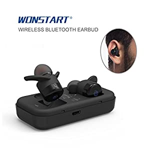 wonstart true wireless bluetooth earbuds mini bluetooth headphones with 500mah. Black Bedroom Furniture Sets. Home Design Ideas