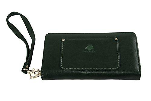 Cartera mujer NAJ-OLEARI verde compacto con abertura zip A4842