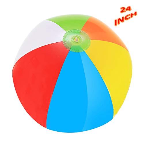 Rainbow Beach Balls - Pack Of 4 Inflatable Beach Ball Toys -