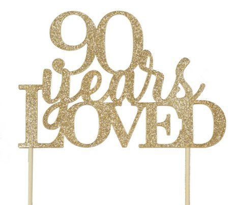 All About Details Gold 90-Years-Loved Cake Topper -