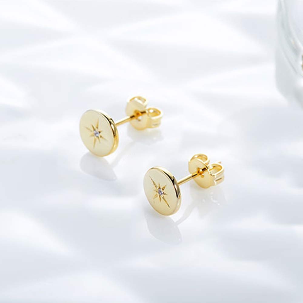 JORA Gold Stud Earrings 18K Gold Plated Sterling Silver Round Disc Star Studs for Women