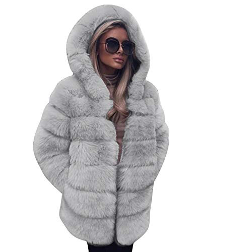 Faux Fur Coats Women Fashion Luxury Hooded Jacket Autumn Winter Warm Overcoat Casual Outwear ANJUNIE(Gray1,M)