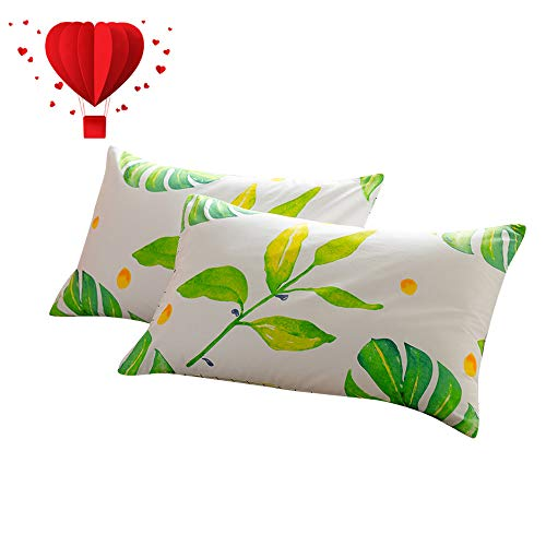 (BuLuTu Cotton Bed Pillowcases Set of 2 Queen White Tropical Palm Tree Leaves Print Kids Pillow Covers Decorative Standard Envelope Closure End Stylish Queen Pillow Cases for Adults(2 Pieces,20