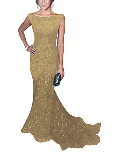 SOLOVEDRESS Women's Mermaid Sequined Formal Evening Dress for Wedding Prom Gown (US 12,Gold)