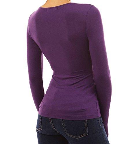 Longues Sexy Froncs Shirts Blouse Hauts Minetom Chemise Femme Pourpre Col V Manchs Tops 5SqXaOx0w