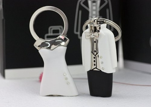 REDline Bride & Groom - Tuxedo & Dress Wedding Gift Double Keychain Set - Interchangeable Outfits w/ Charms