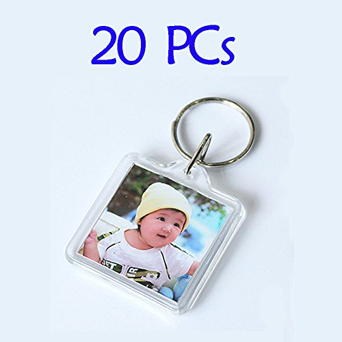 Clear Photo Frame Keychain Set - 20 PCs Square Shape Transparent Blank Acrylic Snap-in Personalized Picture Frame Key Holder, Cool Gift for Friends Lovers and Family ()
