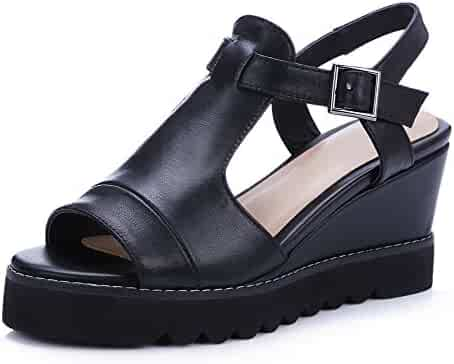 f82f25628bbb AmoonyFashion Women s Buckle High-Heels Cow Leather Solid Peep-Toe Sandals
