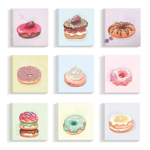 The Stupell Home Décor Collection Sweet Squares Set of Nine Pastel Donut Paintings Stretched Canvas Wall Art, Multi-Color made in New England