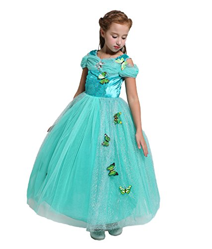 Dressy Daisy Girls' Princess Jasmine Costume Princess Dress Halloween Fancy Dress Up Size 4/5 ()