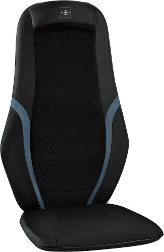 The Sharper Image MSG-C210C Quad Roller Dual-Action Shiatsu Massage Cushion, Black