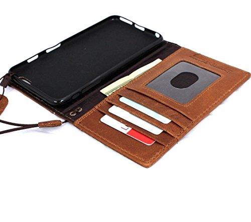 Schutzhülle für Apple iPhone 5S 5C 5, echtes Vintage-Leder, handgemacht, Hartschale, luxuriöse Hülle, Retro, Ausweisfach