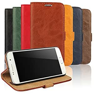QJM 20150511 Bark Grain Wallet Card PU Case with Stand for Samsung Galaxy S6(Assorted Colors) , Red