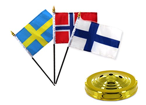 (ALBATROS Finland with Norway with Sweden Flags 4 inch x 6 inch Desk Set Table with Gold Base for Home and Parades, Official Party, All Weather Indoors)