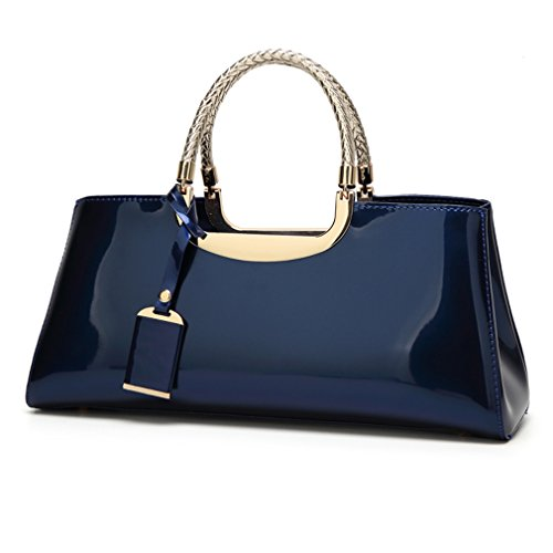 - Glossy Faux Patent Leather Structured Shoulder Handbag Women Evening Party Satchel (Navy)
