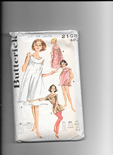 Gathered Robe (Butterick 2198 Vintage Sewing Pattern for Misses 14, 34-bust, Gathered Yoke Mu Mu Nightgown, Duster-robe, Top with Pockets, Panties, Tapered Pants, Lingerie Wardrobe, 1962)