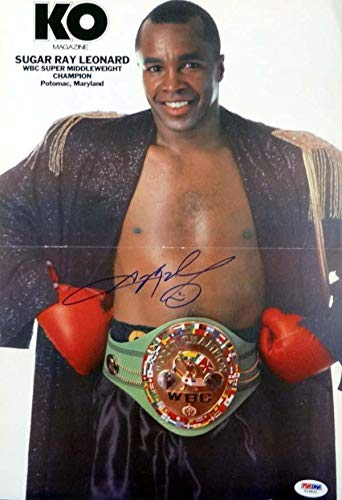 - Autographed Sugar Ray Leonard Photograph - Magazine Poster #T19820 - PSA/DNA Certified - Autographed Boxing Photos