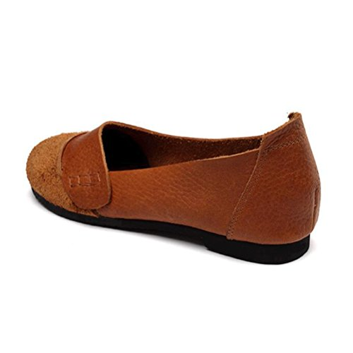 De Los Zapatos 4 Planos Estilo Mujeres Vogstyle el Primavera Marrón A Verano Mano Cuero Hecho Fvq4nHwxa