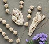 65 Carved Alabasterite Mother with Child Wall Rosary
