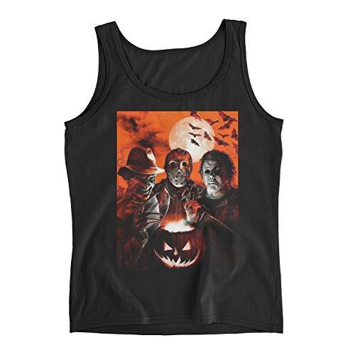 Women's Super Villains Jason Voorhees Michael Myers Horror Movie Halloween Ladies Tank Top (M, Black) ()