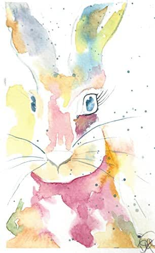 Kid's Any Occasion Note Cards: 6 Blank Artistic Watercolor Cards, with Envelopes - Honey Bunny