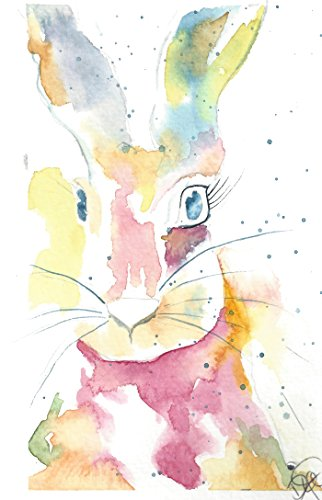 (Kid's Any Occasion Note Cards: 6 Blank Artistic Watercolor Cards, with Envelopes - Honey Bunny)
