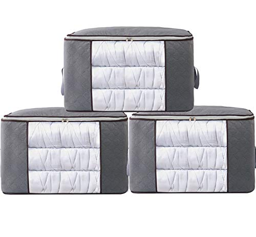 (XITANGOU Pack of 3 Quilt Storage Bag Closet Organizer Underbed Space Saver Bag Made of No- Smell Fabric with Clear Windows for Clothing, Bedding, Quilt, Blankets, Pillows (Grey))