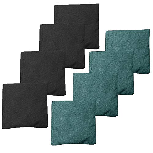 All Weather Cornhole Bean Bags Set of 8 - Duck Cloth, Regulation Size & Weight - Hunter Green & Black