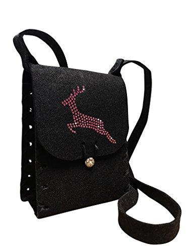 Handgearbeitete Filz Dirndltasche schwarz mit pinkem Swarovski Hirsch LGFzITDY