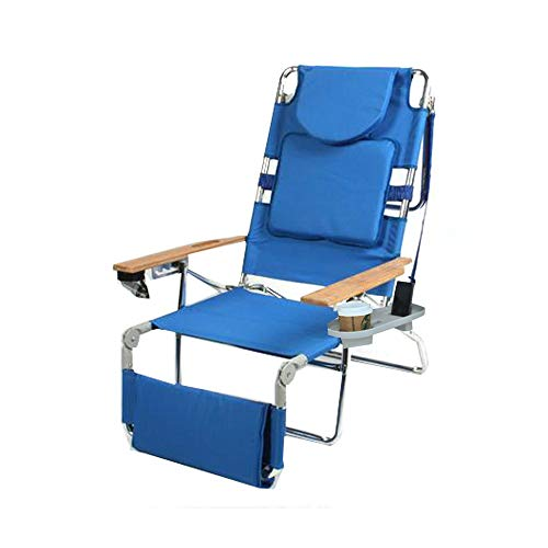 Padded Ostrich 3 N 1 Beach Chair Lounger with Side Tray - Ostrich Folding Chaise