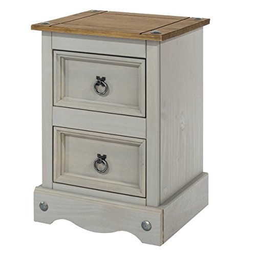 Core Products Corona Grey 2 Drawer Petite Distressed Waxed Pine Finish Bedside Cabinet
