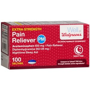 Walgreens Pain Reliever Extra Strength PM Gel Tablets, 100 -