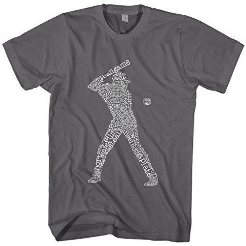 Male Baseball Player (Mixtbrand Men's Baseball Player Typography T-shirt M Charcoal)