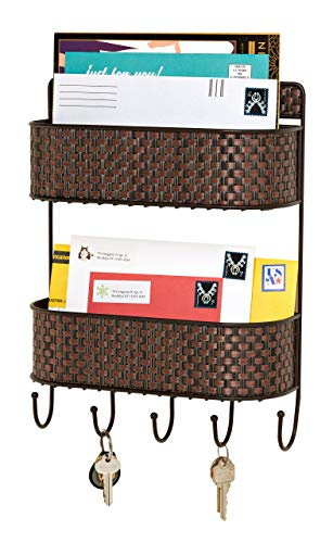 (Home Basics Wall Mount 2 Tier Mail Letter Organizer Pocket Basket Shelf and 5 Key Hook/Holder/Hanger in Brown Weave - Letter Sorter for Entryway, Kitchen, Mudroom, Foyer, Home, Office Décor)