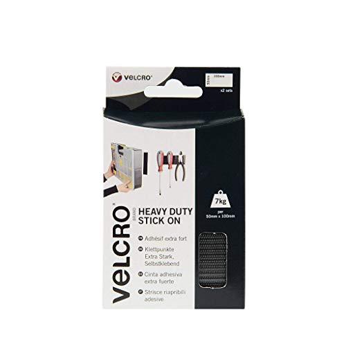VELCRO Brand VEL-EC60239 2er schwarze Hochleistungs-Klebestreifen 50 mm x 100 mm, 50mm x 100mm