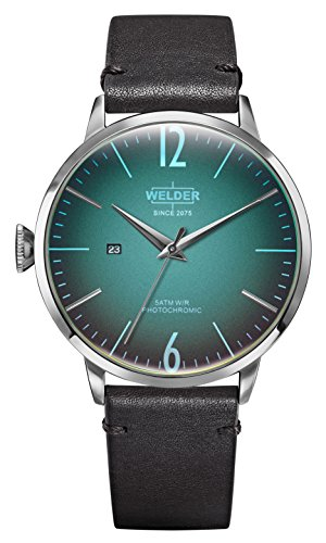 Welder Moody Black Leather 3 Hand Watch with Date 45mm