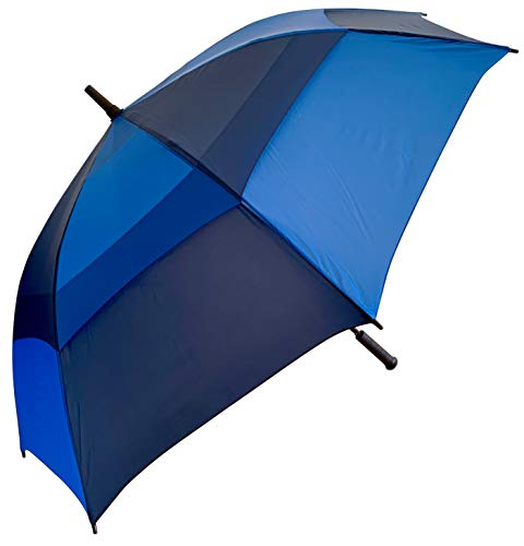 Procella Golf Umbrella Windproof Waterproof - 62 Inch Large Automatic Open Rain & Wind Resistant Vented Double Canopy - Best Golf-Sized Stick Umbrellas for Men and Women (Navy Blue/Light Blue) (Rain With Lights Umbrella)
