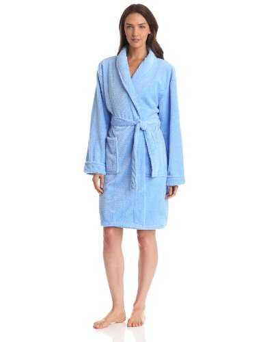 Apparel Robe - Seven Apparel Hotel Spa Collection Popcorn Jacquard Bath Robe, Aqua