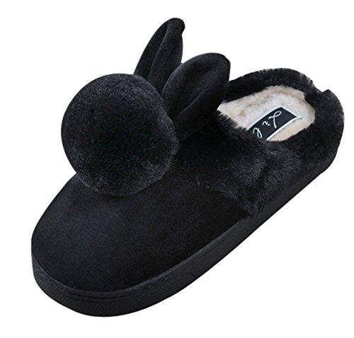 Cattior Womens Bunny Mignonnes Chaudes Dames Pantoufles Pantoufles Fuzzy Noir
