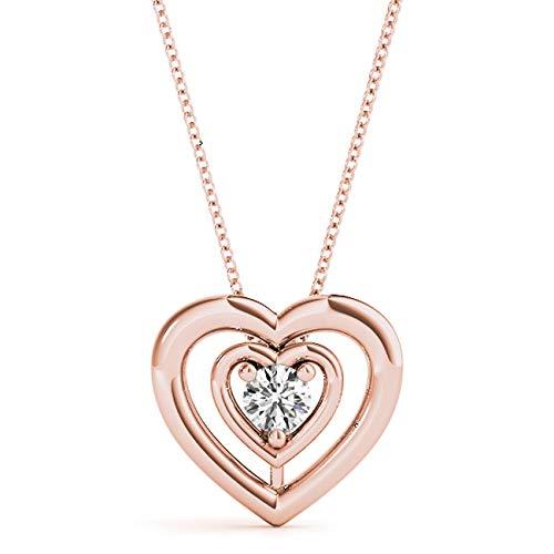 14 KT Rose Gold 0.11 CT Round Solitaire Heart Diamond Pendant Necklace Amcor Design (0.11 Ct Diamond Pendant)