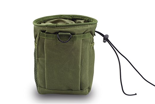 CISNO Military Small Molle Belt Tactical Magazine Dump Drop Reloader Pouch Bag W/Mesh(Army Green)