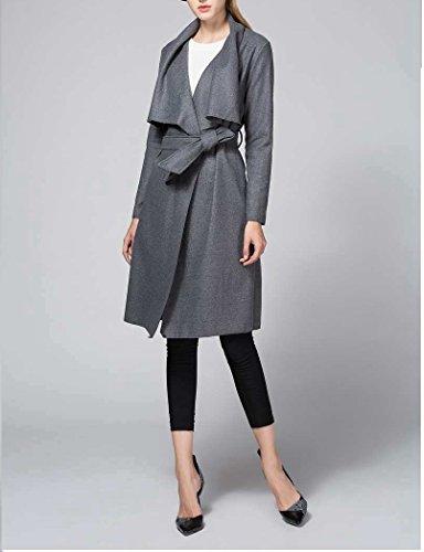 ... OUMIZHI Damen Mantel Trenchcoat mit Gürtel Onesize Lang und Kurz Grau  XoakvBD3 ... 6a2b25448d