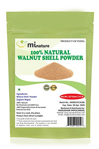 - mi nature natural Walnut Shell Powder - No Silica or Any Artifical Additives - For Homemade Natural Scrub Formula - 227g / 1/2 lbs / 8 oz