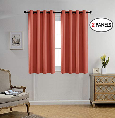 Miuco Blackout Curtains Room Darkening Curtains Textured Grommet Panels for Living Room 2 Panels 52x63 Inch Long Rust