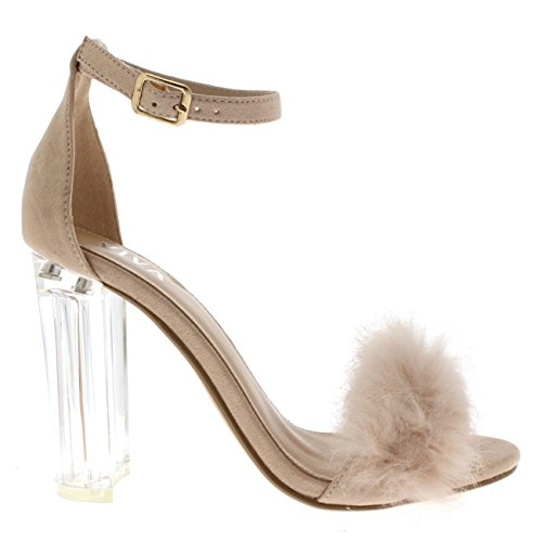 Viva Womens Fluffy Glass Block Heel Party Cut Out Fashion High Heels Pumps Nude SN9hFlEah