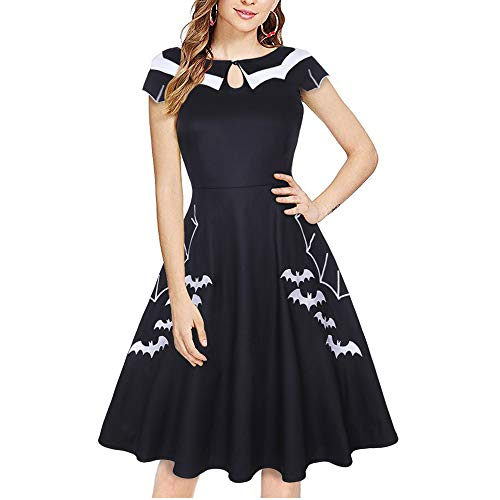 MERRYA Women's Halloween Party Swing Dress Petite Bat Spider Print Embroidery Size M (Black) -